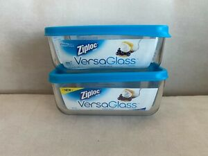 NEW Lot X 2 Ziploc VersaGlass Versa Glass Ziploc Glass containers 5.5 cup, 45 oz