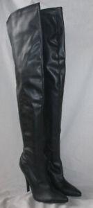 LADIES 5.5 INCH THIGH HIGH BLACK MATT PU BOOT WITH INSIDE ZIP SIZE UK 4 & UK 8