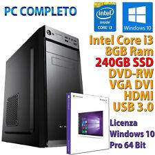 PC COMPUTER FISSO DESKTOP WINDOWS 10 INTEL QUAD CORE i3-8100 RAM 8GB SSD 240GB