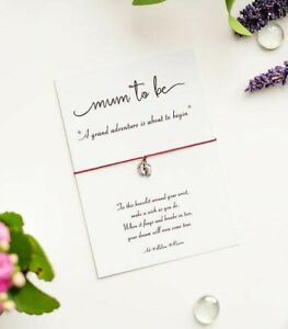 Mum To Be Wish Bracelet, Pregnancy Gift Card with Tibetan Silver Baby Feet Charm