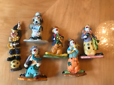 "Vintage Lot Of 6 One Of Kind Beautiful Collectible Clown 3.5"" Japan"