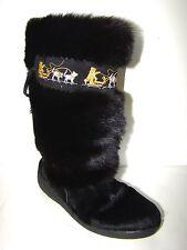 YETI Boots TAIGA Black Real Goat FUR Mukluks Dog Sled Husky Sz 9.5 / 41