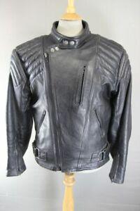 CLASSIC DYNAMIC LEATHER BLACK COWHIDE BIKER JACKET 42 INCH