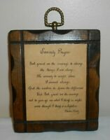 """Vintage Jerry Schultz Co. 5.5x6.5"""" Wall Plaque - Serenity Prayer - on PIne Wood"""