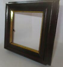 1 Holz - Bilderrahmen 11,5x11,5 cm Dunkelbraun mit Goldrand für 8x8 cm Bildgröße