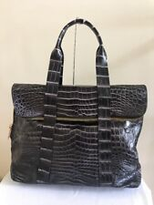 Custom Made Genuine Crocodile Shoulder Bag Handbag Two-Tone Black/Beige, Large