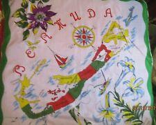 306be9560262 Vintage Silk Bermuda Handkerchief scarf Souvenir Map Flowers Points of  Interest