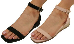 Ex-Store Ladies Faux Suede Mid Wedge Sandals with Ankle Strap
