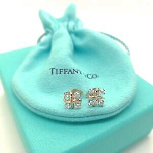 Tiffany & Co 18k 750 Yellow Gold & Platinum Schlumberger Diamond Lynn Earrings