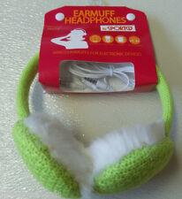 Lime Knit & Faux Earmuffs Warmers Headphones Compatible MP3 Smartphone Laptop
