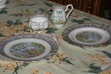 "Royal Albert ""Silver Birch"" 4 Pieces: Cake Serving & Dessert Plates, Cream Sugar"