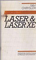 1984 vintage original car owners manual - CHRYSLER - LASER