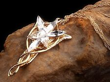 New LOTR Yellow Gold Plated Arwen Evenstar Crystal Necklace Pendant Nice Gift