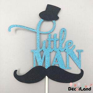 Little Man Boy Baby Shower Mustache Glitter Blue Cake Topper
