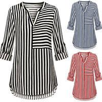 Womens Chiffon Blouse Split V Neck Cuffed Sleeve Striped Blouses Shirt Tops