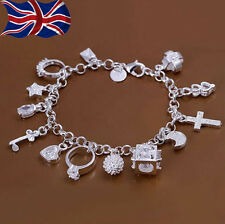 """925 Sterling Silver plated Charm Bracelet Crystal Charms Chain Link 8"""" UK"""