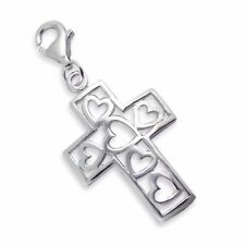 Silvadore CROSS HEARTS Jesus 925 Sterling Silver Clip On Charm Bracelet Box 402