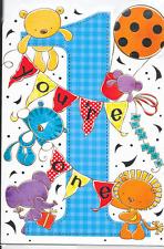 HAPPY 1ST  BIRTHDAY CARD MALE,TEDDY THEME,TOP QUALITY (N7).