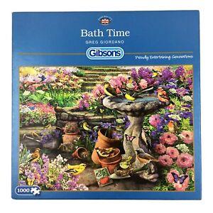 Bath Time Jigsaw Puzzle 1000 Gibsons Birds Garden Wild Flower Feathered Hedgehog