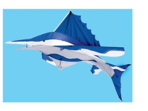 "48"" x 24"" x 55"" Blue Marlin Fish 3-D Rip Stop Nylon Kite w/ string and handle"