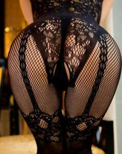 Sexy UK plus size 6-24 fishnet lingerie floral crotchless bodystocking bodysuit