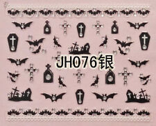 Halloween Black Bats Graves Crosses Silver Stud 3d Nail Arts Sticker Decals