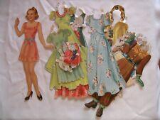 Fabulous Original Vintage 1940`S Paper Dolls Clothes Usa