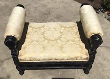 Antique Eastlake Victorian Upholstered Bench Vanity Seat With Roll Arms