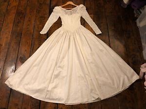 Laura Ashley Vintage Edwardian Victorian Style 80's Cotton Wedding Dress 10 8