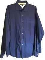 TOMMY HILFIGER  Men's Dress Shirt Long Sleeve Navy Size 17 36/37 EUC