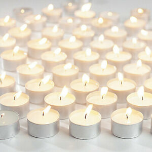 50 Pack White Unscented Tealights 3.5 Long Hours Burn Time Candles Night Light