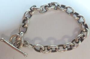 """Sterling Silver Bracelet Link Hallmarked 14.123 Grams 7 - 1/2"""" Length 8.2mm wide"""