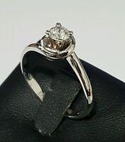 Descuento 50 % anillo Solitario oro blanco 18 kt y diamante natural mod Salvini