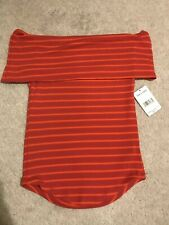 Free People Striped Off The Shoulder Top Size Red Combo S