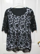 Ladies Black Lace Short Sleeved Top Size 14