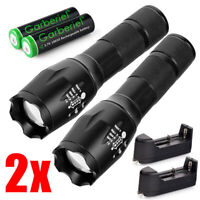 Powerful T6 LED Flashlight Tactical Zoomable Torch Rechargeable Battery&Charger