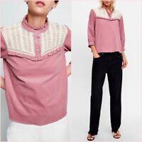 SALE Pink Ruffled Long Sleeves Shirt Blouse Top S UK 8 US 4 Blogger ❤