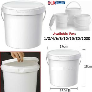 2.5L Plastic Bucket Handle Food Lid Storage Tubs Container Air Tight Bin Caddy