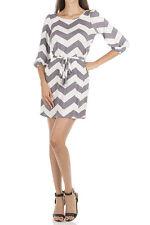 Gray White Chevron Short Dress with Peasant Sleeves Size Women's Medium NEW