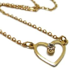 Dainty Gold Plated Avon Heart With CZ Necklace