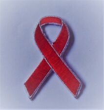 *NEW* HIV Aids Awareness red ribbon iron-on embroidered patch. Badge. Charity.
