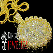 MENS ICED OUT YELLOW GOLD FINISH ROUND FLOWER CLUSTER MEDALLION PENDANT CHAIN