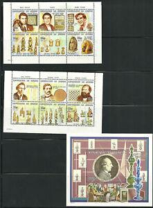 2771/Guinea 1999 1445-2456 Block 595 ** Schach Schachbrett Schachfiguren