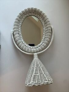 "Vintage White Wicker Oval Pedestal Tabletop Vanity Mirror -17 1/2"" Tall"