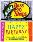 2x BARNES & NOBLE BOOKS HAPPY BIRTHDAY FISH BASS PRO COLLECTIBLE GIFT CARD LOT For Sale