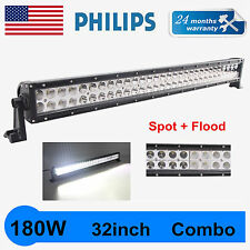 180W 32inch LED WORK LIGHT BAR COMBO Offroad Truck SUV Ford Driving Slim PHILIPS