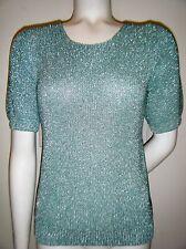 Christine Phillipé Women's Turquoise Metallic Short Sleeve Sweater Top sz. S new