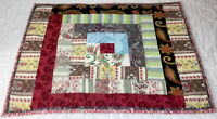 Patchwork Quilt Wall Hanging, Log Cabin, Floral Prints, Brick Red, Light Brown