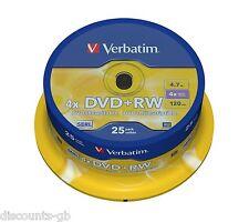 43489 VERBATIM 4.7 GB 120min 4x DVD+RW - MATT SILVER SPINDLE 25 pacco