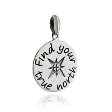 Find Your True North Compass Pendant - 925 Sterling Silver - Graduation Gift NEW